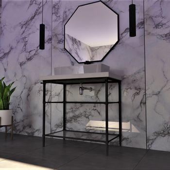 Espejo Hexagon Negro 600 mm