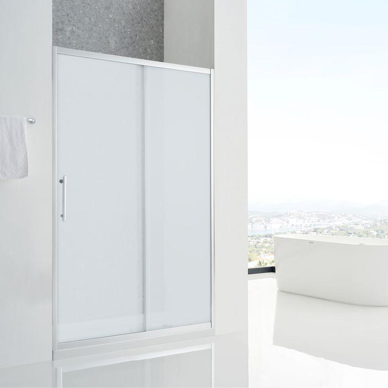Baños-Mampara-Aura-Ducha-una-Corredera-un-Fijo-Reverisble-Vidrio-Templado-Perfil-Dusted-Cromado-1500x1950-mm