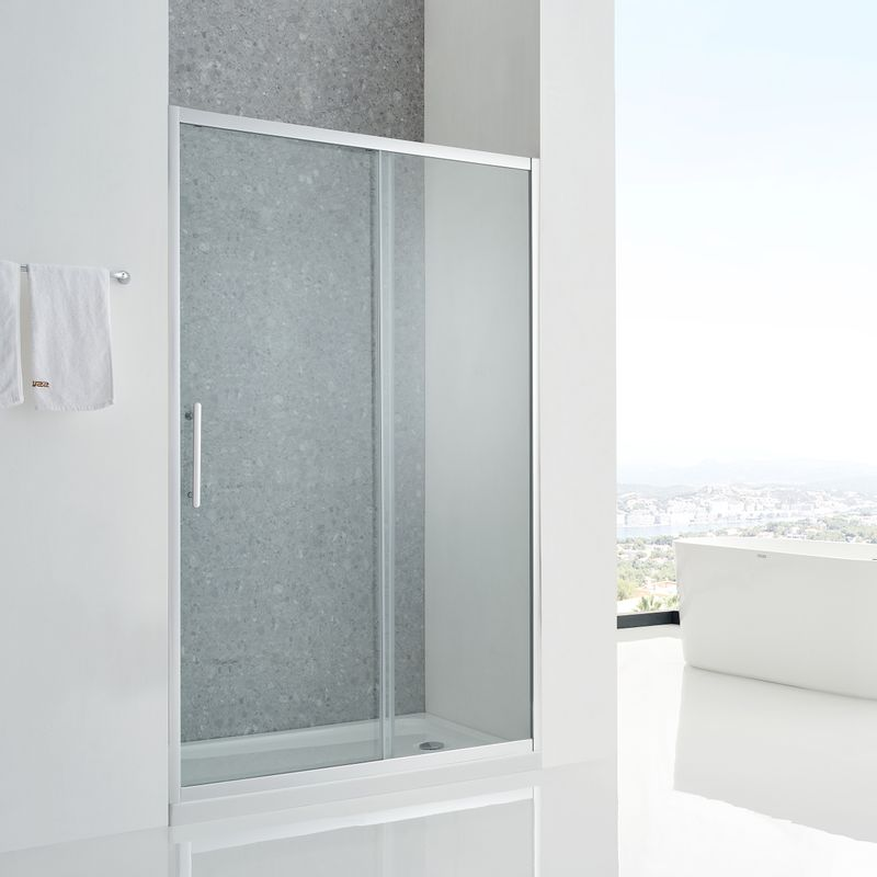 Baños-Mampara-Aura-Ducha-una-Corredera-un-Fijo-Reverisble-Vidrio-Templado-Perfil-Cromado-1400x1950-mm