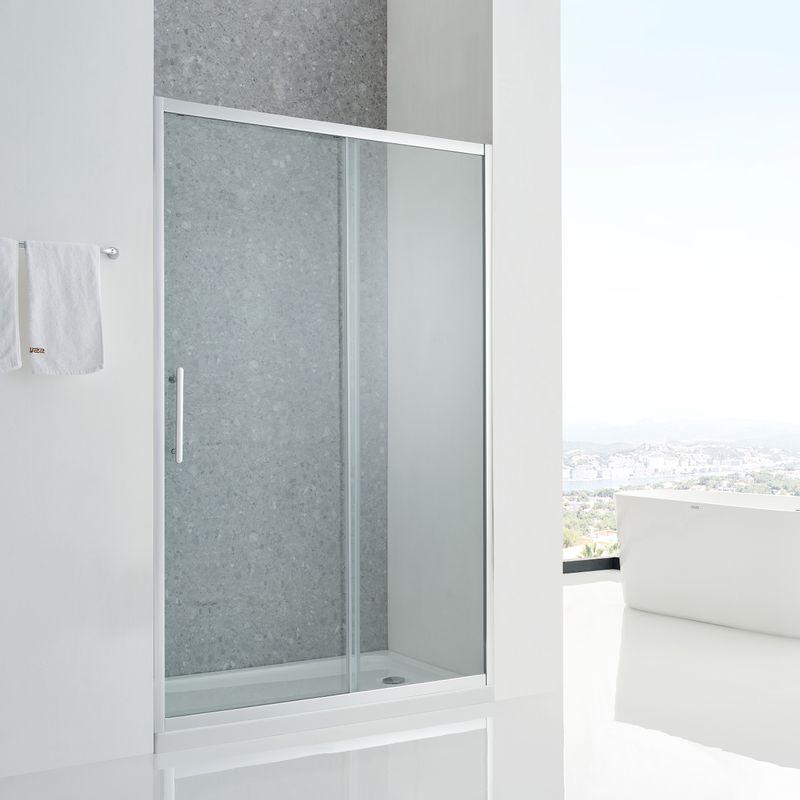 Baños-Mampara-Aura-Ducha-una-Corredera-un-Fijo-Reverisble-Vidrio-Templado-Perfil-Cromado-1300x1950-mm